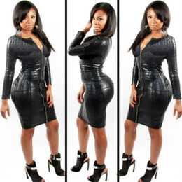 Wholesale long sleeve leather - Plus Size BBW Dress women clothing Sexy Black Snakeskin Faux Leather Bandage Dress Summer New Zipper Bodycon dress