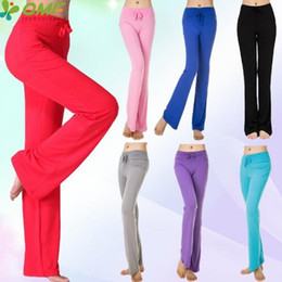 Pantalones de yoga de caramelo online-Modal Candy Color Womens Yoga Pantalones de secado rápido Black Power Flex Leggings Slim Fit de cintura alta Fitness Gym Dance Pantalones doblar sobre