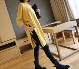 Wholesale Bat Long Sleeve - 2017092821 Autumn Winter Women Knitting Sweater kimono 2017 Korean Loose Side Split Lace-up Bow Long Sweater Bat Sleeve Thin Pullover Tops