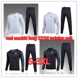 Wholesale Soccer Trainning - Real madrid tracksuit 17 18 sweater suit 2017 2018 real madrid trainning sweater top set jacket long pants home white away black RONALDO