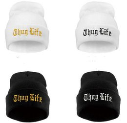 Wholesale Wholesale Polyester Beanies - Black Letter Hat for Men THUG LIFE Wool Knitted Hats Male Female Winter Sport Skullies and Beanies Women Casual Hats Caps