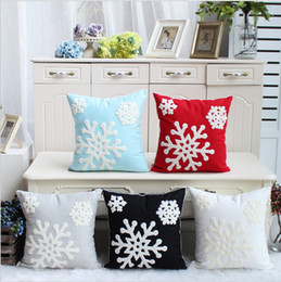Wholesale Embroidery Linen Cushion Cover - Snowflake 100%Cotton Embroidery Pillow Case Christmas Cushion Cover  Decorative Sofa Home Decor Pillowcase Bed Car Cushion Cover