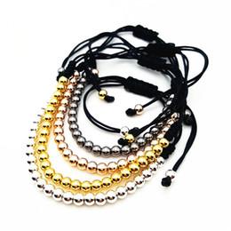Wholesale 4mm Brass - Trendy Handmade Brand Men Bracelet Macrame Jewelry 4mm Copper Beads Braided Strand Woven Charm Bracelets & Bangles for Men Women