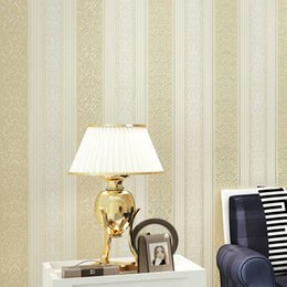 Wholesale Vertical Striped Wallpaper - Wholesale- European Stripe Non-woven Wallpaper 3D Flower Restaurant Bedroom Living Room TV Background Vertical Striped Mural Wall Covering