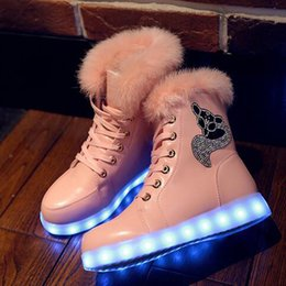 Wholesale Sequin Shoes For Girls - Led light Shoes Woman Platform Boots For Women Womens Girls Shoes Winter Ankle Boots Sequins Snow Boots Size 35-40 Free Shipping