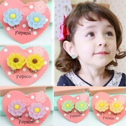 Wholesale Wholesales Clip Baby Earrings - LUBINGSHINE Fashion Flower Earring Without Hole Ear Stud For Children Ear Clip Sweet Baby Girls Candy Color Jewelry Gifts E154