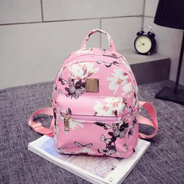 Wholesale Ladies Floral Backpack - women casual shopping bags new fashion ladies travel Backpack Fashion Causal Floral Printing Leather Bag New Women's Backpacks