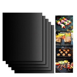 Wholesale Bbq Charcoal Grills - BBQ Grill Mat Durable Non-Stick Barbecue Mat 40*33cm Cooking Sheets Microwave Oven Outdoor BBQ Cooking Tool