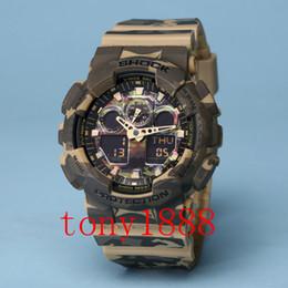 Wholesale Luxury Watch Light - AAA 2017 luxury brand watch men G All pointer work GA100 Men sports watches LED light watch running hiking digital shock watches with Box