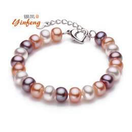 Wholesale Freshwater Lobsters - Wholesale- Top quality 8-9mm natural freshwater pearl bracelet for women white multi-color two types fashion charm bracelet