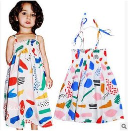 Wholesale Dotted Ladies Skirts - INS HOT Graffiti Suspenders Dress For Little Girl Colorful White Beach Dress Elegent Little Lady Cute Skirt Summer Dress Free Shipping