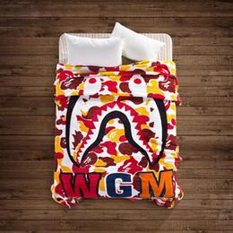 Wholesale Portable Beds Adults - 2017 tide flannel blanket 7 color shark blanket bed was nap double cover blanket 130 * 150CM