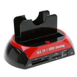 """пластиковый футляр для жесткого диска Скидка 2,5 """"3,5"""" SATA / IDE 2 док-станция для жестких дисков с двумя док-станциями e-SATA / концентратор Внешний корпус для хранения 20PCS / LOT Free"""