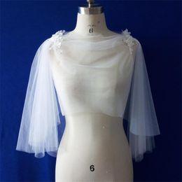 Wholesale Shrugs Women Jackets - Real Photo Soft Tulle Lace Appliques Ivory Bride Wedding Cape Wedding Accessories Bolero Women Tulle Shrug Wedding Wraps PJ08