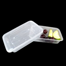 Wholesale Disposable Plastic Food Packs - 500ml Disposable Lunch Box Plastic Heat resistant Transparent Food Container Box Microwave Salad Vegetables Fruit Pack Box