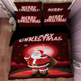 Wholesale King Size Santa Claus Bedding - Red Santa Claus Merry Christmas Bedding Sets Twin Full Queen King Size Cotton Comforters Dovet Covers Pillow Shams Elk Galaxy Snowflake