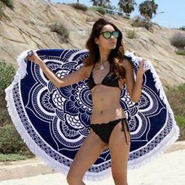 Wholesale Bath Mat Towelling - Round Beach Towels Women Bikini Shawl Bohemian Mandala Tassels Beach Towel Cotton Serviette Cover up Swimsuit Beachwear Mat Blanket