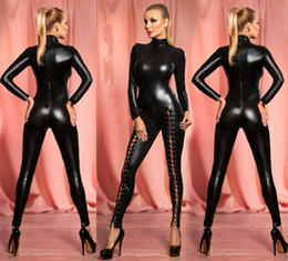 Wholesale Latex Look - Wholesale- Women's Sexy Hollow Out Rivet Latex Leather Catsuit Wet Look Shiny fancy Costume jumpsuit