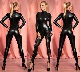 Wholesale Wet Look Jumpsuit - Wholesale- Women's Sexy Hollow Out Rivet Latex Leather Catsuit Wet Look Shiny fancy Costume jumpsuit