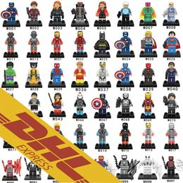 Wholesale Iron Figures - 480pcs lot Mix Order Minifig Marvel Super Heroes NEXO Knights The Avengers Bat Spiderman Iron Man Mini Building Blocks Figures Toy