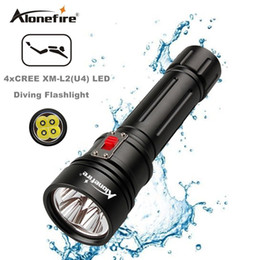 Wholesale High Swimming Pool - AloneFire DV46 High Power CREE XM-L2 U4 LED Scuba Flashlight Torch Underwater Venture 150m Waterproof Rechargeable Diving Flashlight