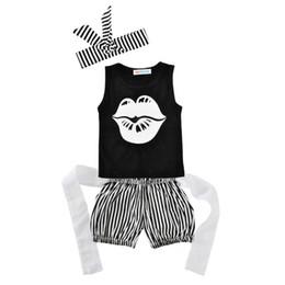 Wholesale Toddler Girls Vests - 2017 Summer New Baby Girl Sets Letters Lips Black Vest+Stripe Shorts+Headbands 3pcs Outfits Toddler Clothing 0-18M 11001