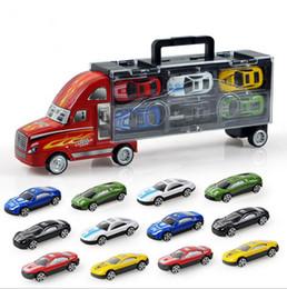 Wholesale Toy Alloy Cars Set - 13pcs   Set Cars (Alloy Metal 12Pcs Cars+ 1PcsTruck) 1:43 Baby Toys Transport Car Carrier Truck Boys Toy