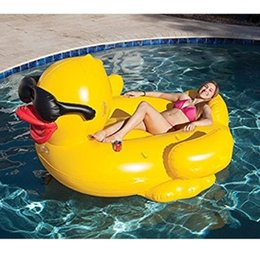 Wholesale Kids Party Rings - 200cm Inflatable Yellow Sunglasses Duck Giant Pool Float Ride-On Swimming Ring Pool Party Summer Inflatable Water Toys Kids Adult Holiday