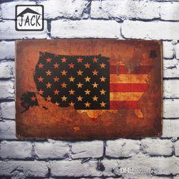 Wholesale Tin Sign Usa Flag - USA Flag 20x30cm Vintage Poster Metal Tin Signs Tin Plaque Advertising Shop Bar Garage Wall Decor