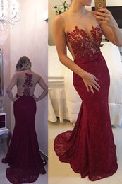 Wholesale Fancy Prom - Fancy Mermaid Burgundy Lace Sheer Prom Party Dress 2017 Beading Sleeveless Sweep Train Long Evening Celebrity Gowns