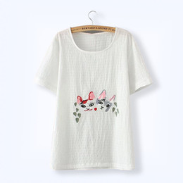 Wholesale Hot Pink Shirts For Sale - Hot Sale Plus Size Women's Clothing 2017 Summer Cat Embroidery Stripe Plaid T- Shirt White Large Size Cotton O-neck Top for Plump Lady