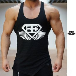 Wholesale Tshirt Vest Men - Wholesale- New Summer Men Tank Tops printed inclined fork Bodybuilding tshirt and Fitness Mens Sleeveless Shirt Vests Cotton Tops