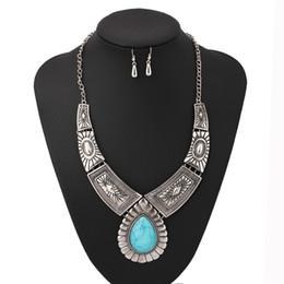 Синий бирюзовый старинные ювелирные наборы Серебряный большой колье ожерелье серьги для женщин богемный комплект ювелирных изделий от Поставщики комплект подкладки