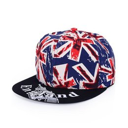 Wholesale british coupling - New hip-hop hip-hop hat m-word British flag flat-haired men's sunscreen couple hat tide WMB003