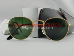 Wholesale drop shipping sunglasses - Drop shipping Fashion Round Sunglasses Mens Womens Designer Sun Glasses Gold Metal Green Dark 50mm Glass Lenses Better Black Case.