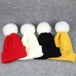 Wholesale Girl Korean Winter Hat - INS 10 colors Korean styles New arrivals Candy wool cap infant kids girl boy caps winter outwear Warm hair ball cap free shipping