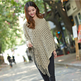 Wholesale Womens Sweater Shawl - 2017 New Womens Double Layer Irregular Tassel Poncho Cape Shawls Wrap Hollow Lattice Batwing Knit Sweater