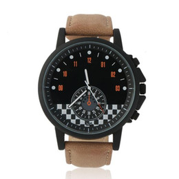 Wholesale Race Car Frames - Fashion New Mini Racing Car Scale Dial Watch Big Black Frame Men Sport Leather Belt Quartz Wrist Watch Unique Relogio Drop Shipping
