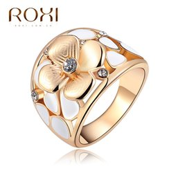 Wholesale Champagne Jewelry Sets - ROXI Brand Ring For Women Exquisite Folower Champagne Rings Rose Gold Plated with Zircon Fashion Environmental Body Jewelry Gift