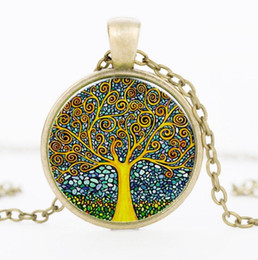 Wholesale Vintage Glass Charms Pendants - Retro Vintage Women Lady Girl Tree of Life Cabochon Bronze Silver Glass Chain Pendant Necklace Jewelry