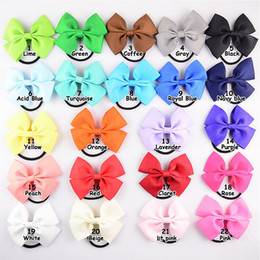 Wholesale Elastic Bows For Gifts - high quality grosgrain ribbon hair bow with different color elastic headband for pony tail holder for kids headwear 20pcs lot