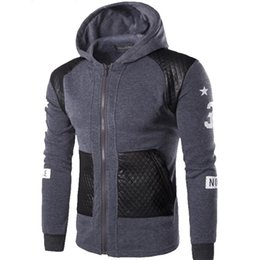 Wholesale Leather Animal Suits - Wholesale- Men Hoodies Patchwork Leather Sleeve Fashion Hoodies Men Jacket Coat Brand Sweatshirt Casual Suit Pullover Tracksuits Masculino