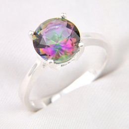 Wholesale Topaz Stone Ring - 10 Pieces 1 lot LuckyShine Bright Round Multi-Color Mystic Topaz Crystal Gem 925 Sterling Silver Rings Russia American Australia Crown Rings