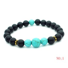 Wholesale Pcs Stretch Bracelet - 12pcs 2017 New 8mm Agate Beads Charms Bracelets colorful Beads Men Women Natural stone Stretch Bracelet Fashion Black Jewelry Gift 1 pcs Fre