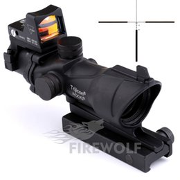 Wholesale Trijicon Style - 2017 Trijicon ACOG Style 4x32 Scope with Docter Mini Red Dot Light Sensor (Black) FREE SHIPPING