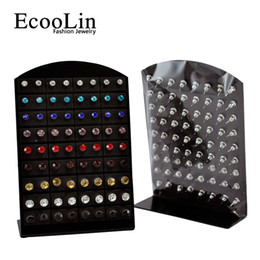 Wholesale 72 Set Jewelry Bulk Fashion Stainless Steel Multicolor Rhinestone Stud Earrings For Women Men LR286