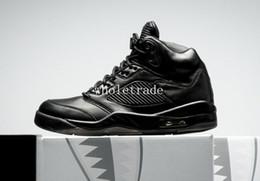 Wholesale Suit Canvas - air retro 5 PRM Triple Black basketball shoes Mens air retro 5 Premium Black air retro 5 Flight Suit Sneakers size US 8-13