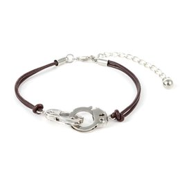 Wholesale Handcuff Leather Bracelet - Wholesale- New design silver pulseras for best friend handcuffs charm leather bracelet men jewelry bracelets & bangles pulseira masculina