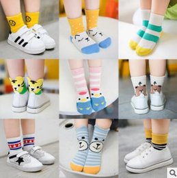 Wholesale Boys Knitted Tops - 3 Pack Baby Colorful Striped Socks Top Quality Ankle Korea Sock Infant Toddler Boy Girl Cotton Sock Knitted Cheap Socks 4 Size