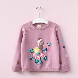 Wholesale Deer Jumpers - 2017 Autumn New Baby Girls Knitting Sweaters Cartoon Deer Christmas Sweater Children Clothes 2-7T E316884